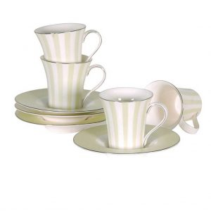 Set of mint stripe espresso cups & saucers