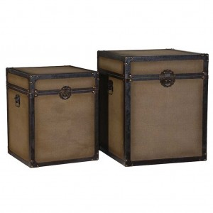 Set 2 linen & Leather trim boxes