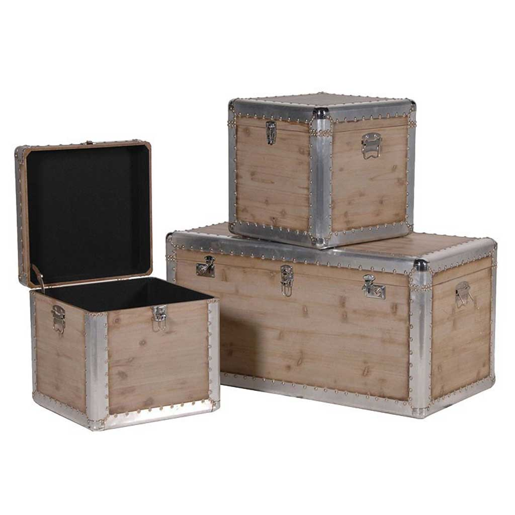 Set 3 Metal Trim Wooden Trunks Hydes Interiors