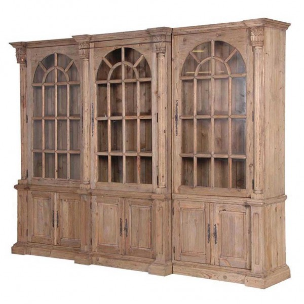 Reclaimed pine glazed triple bookcase hydes interiors for Triple french doors for sale