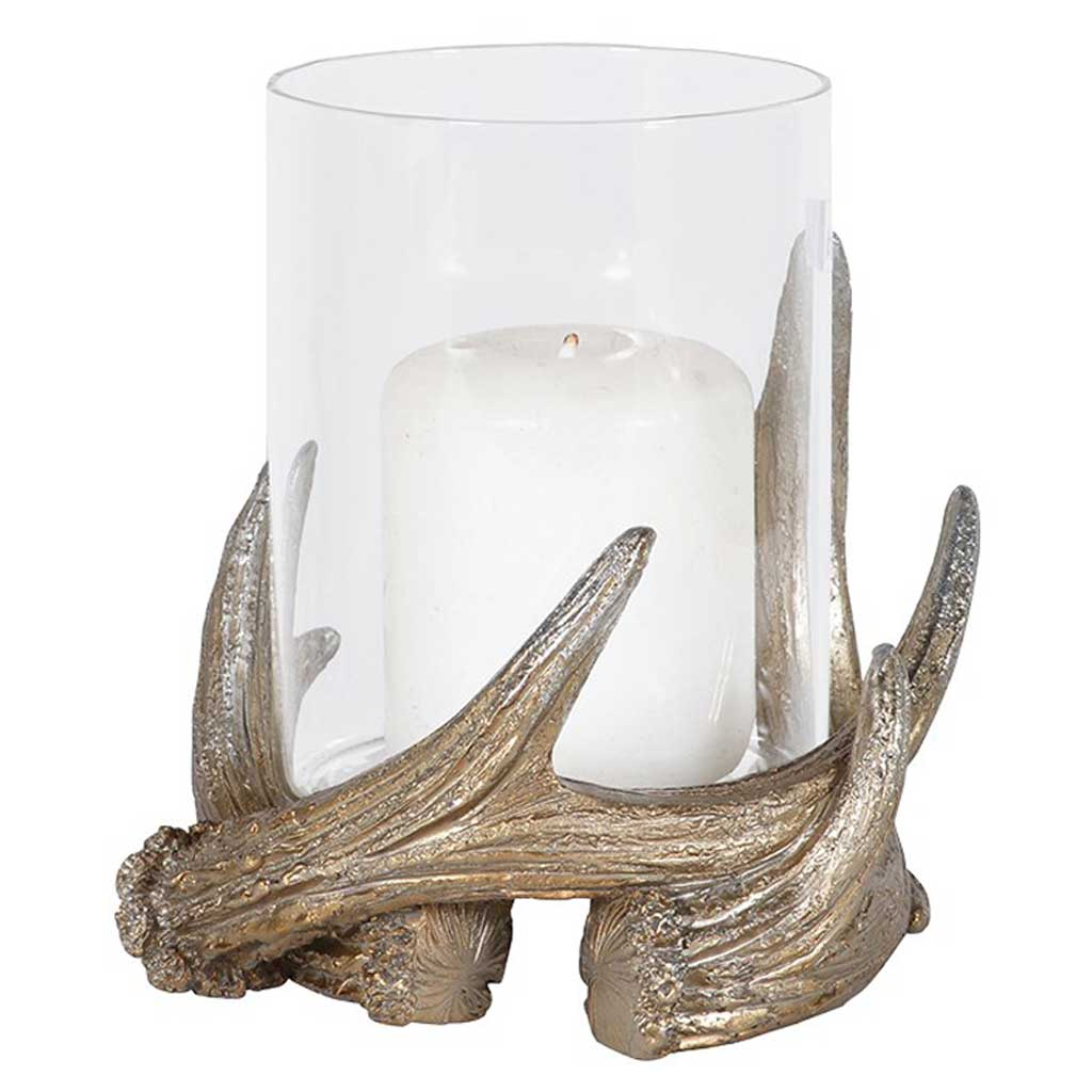 Antler glass candle holder