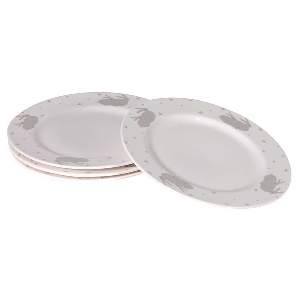 Set of bunny dinner plates