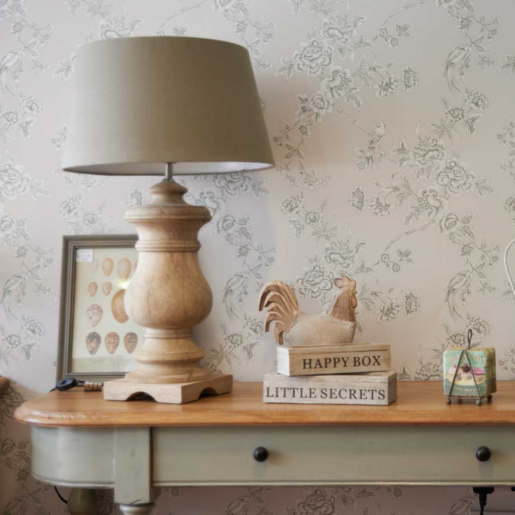 Shaped wood table lamp