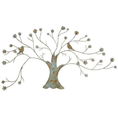 Distressed metal bird tree wallart