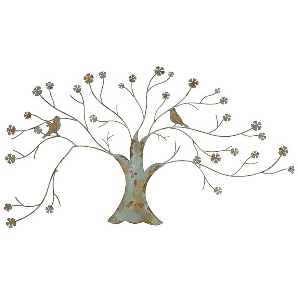 Distressed metal tree wall art handmade kitchens in for Kitchen cabinets lowes with metal tree branch wall art