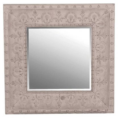 Grey embossed frame mirror