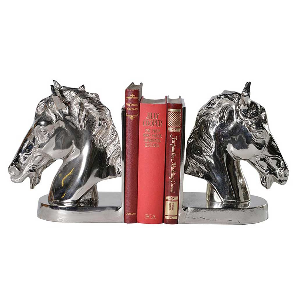 Horse head bookends with books
