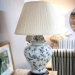 Ceramic blue floral table lamp
