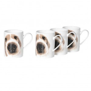 Set 4 puppy mugs