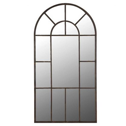 Large arched windowpane mirror