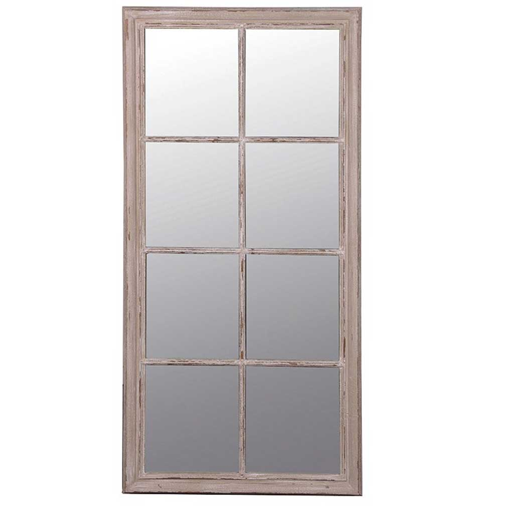 Large oblong windowpane mirror