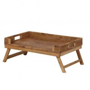Brown rattan breakfast trayBrown rattan breakfast tray