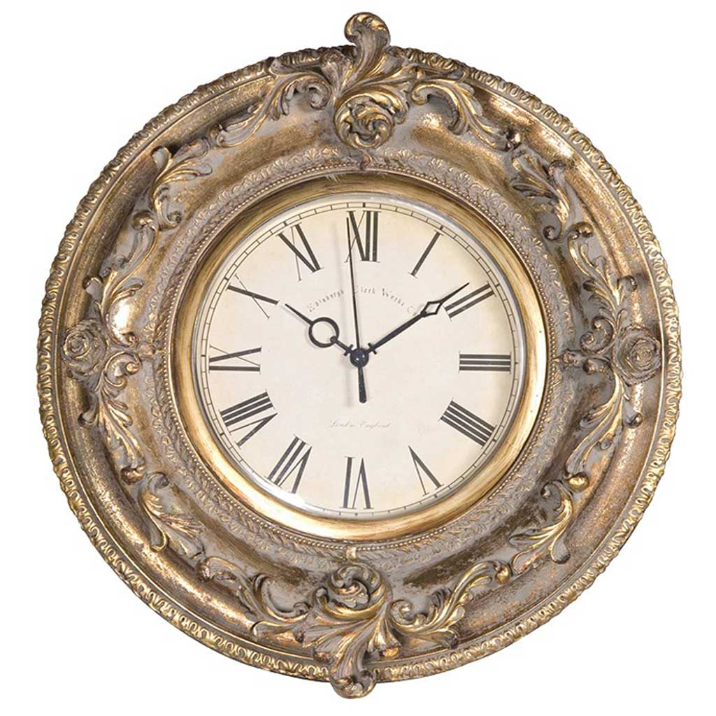 Ornate gold round wall clock