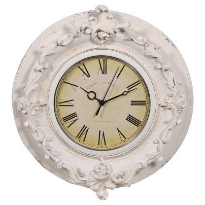 Ornate cream round wall clock