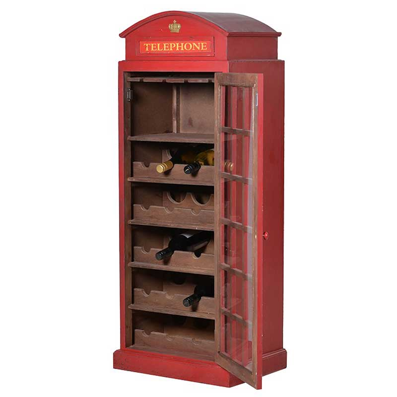 Telephone box wine cabinet open