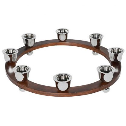 Wooden 8 ring candle holder