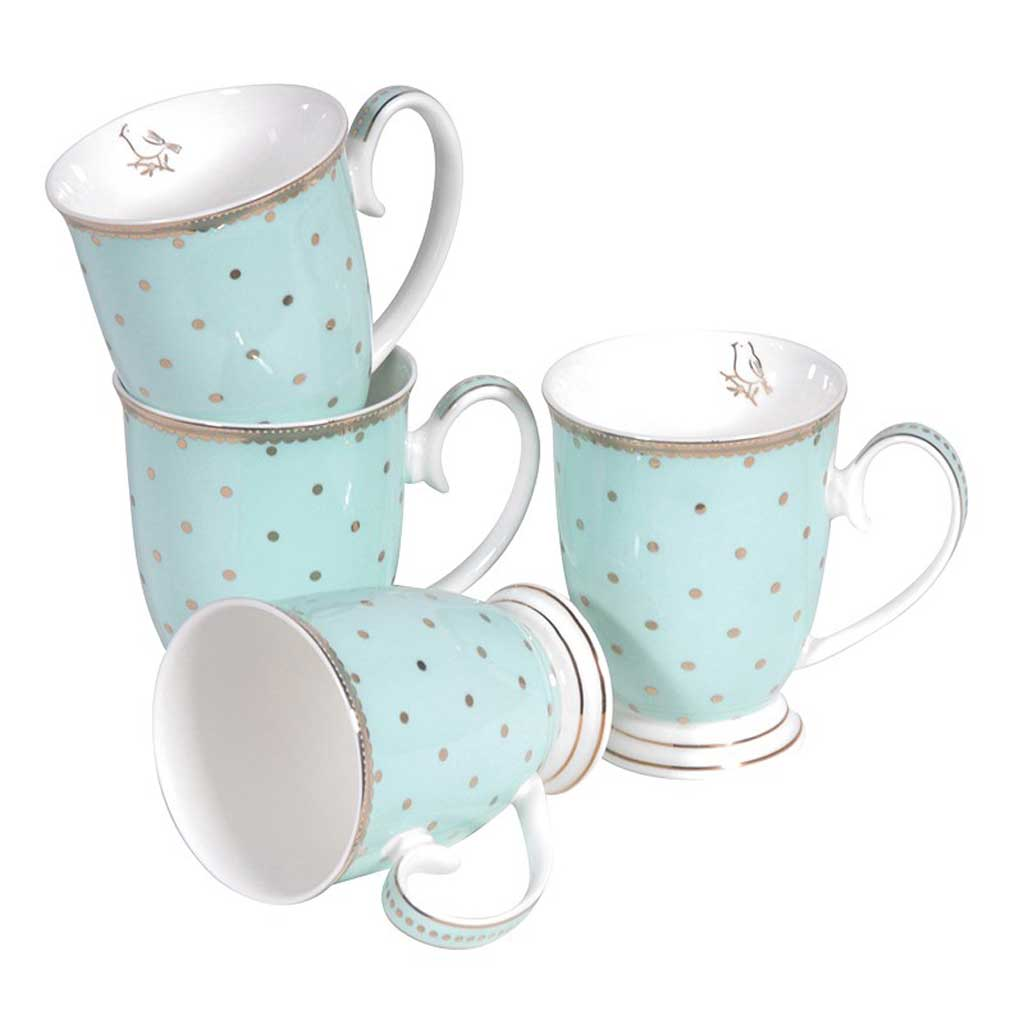 Set 4 mint spot mugs
