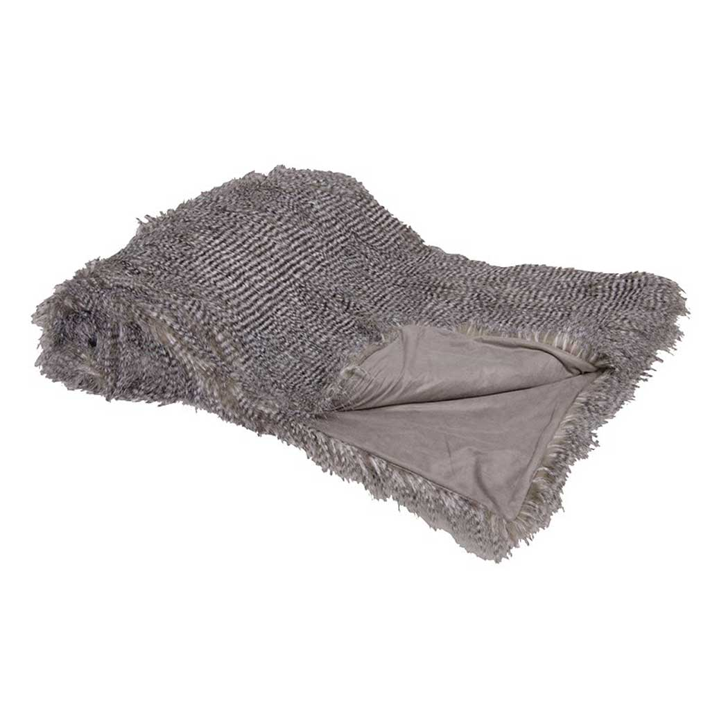 Speckled grey faux fur throw