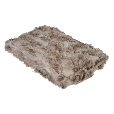 Brown patterned faux fur throw