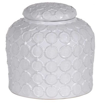 Decorative white ginger jar