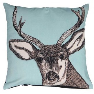 Blue stag cushion