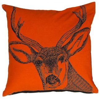 Orange stag cushion