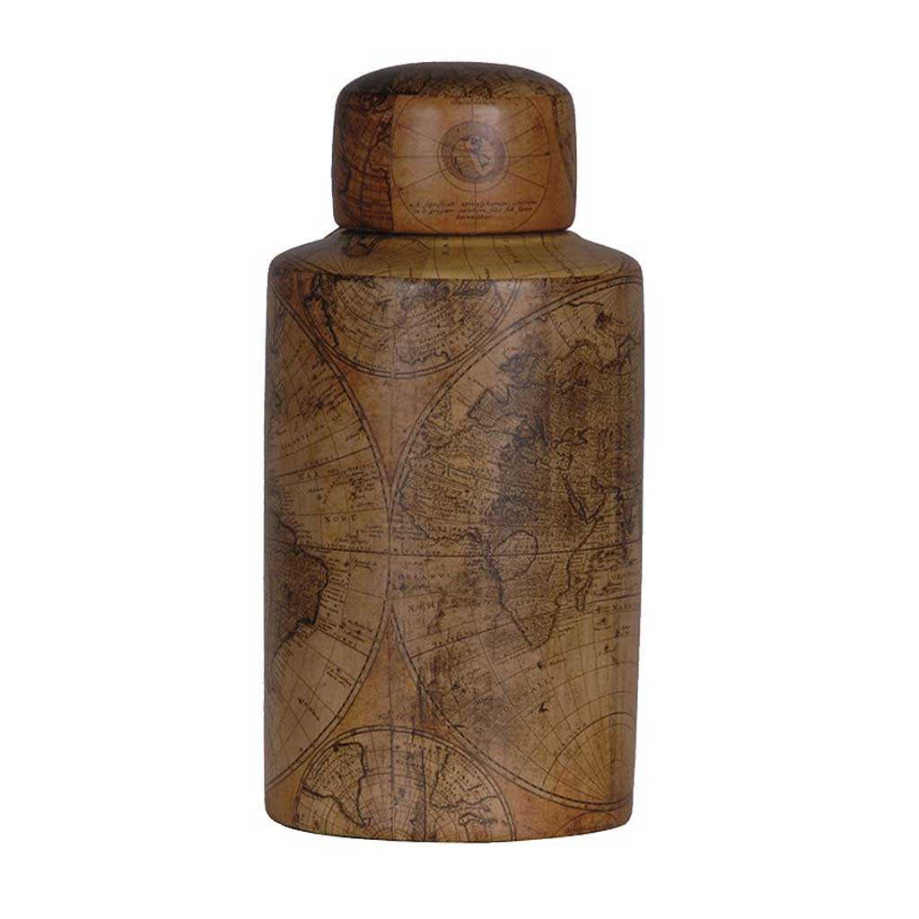 Small brown antique map jar