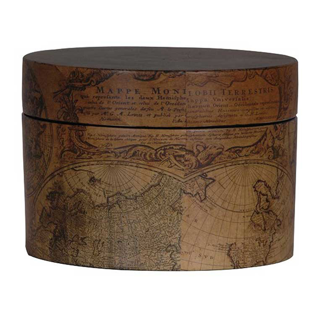 Small brown antique round map box