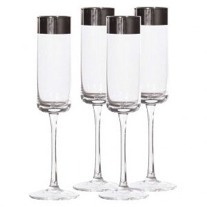 Set 4 silver top flutes