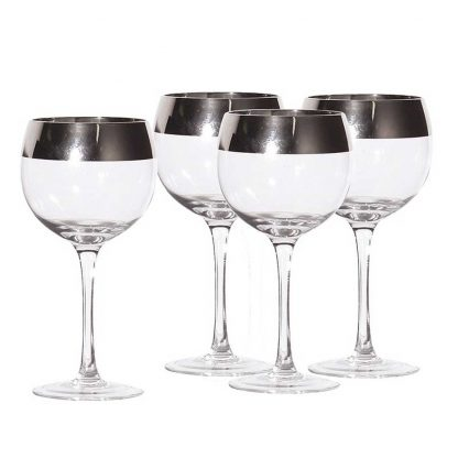 Set 4 silver top wine glasses