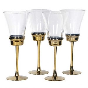 Set 4 gold stem wine glasses
