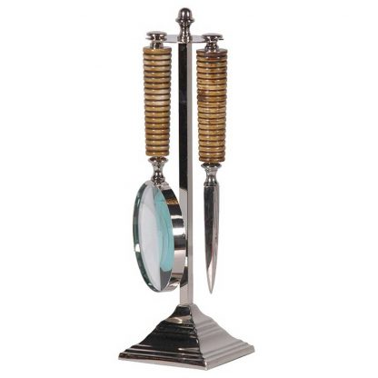 Knife & magnifying glass on stand