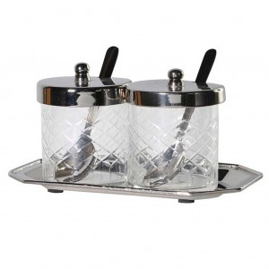 Glass & tray condiment set