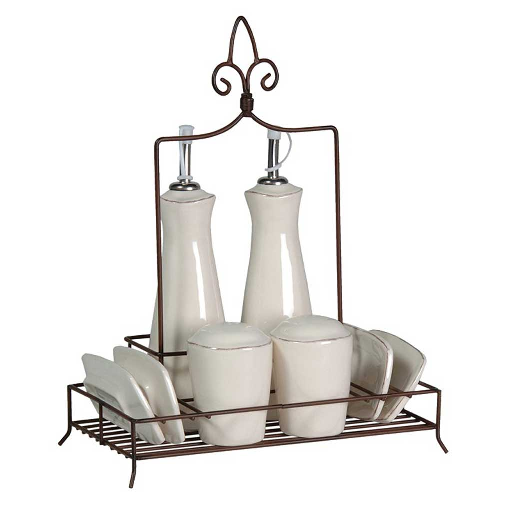 Condiment set in metal stand