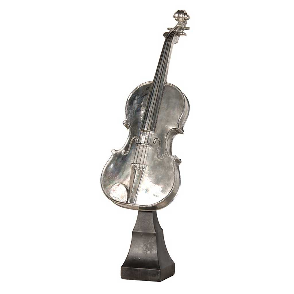 Decorative pewter violin on stand