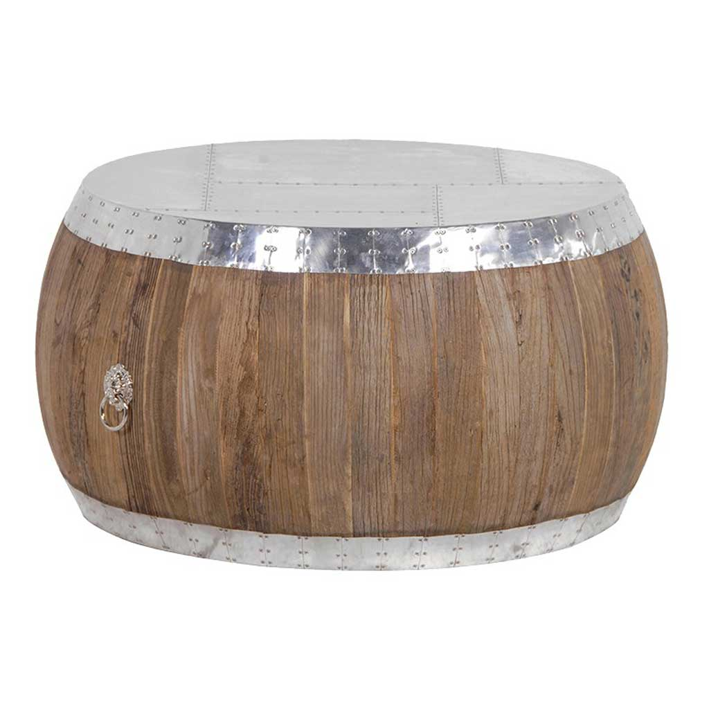 Round aluminium & Elm coffee table