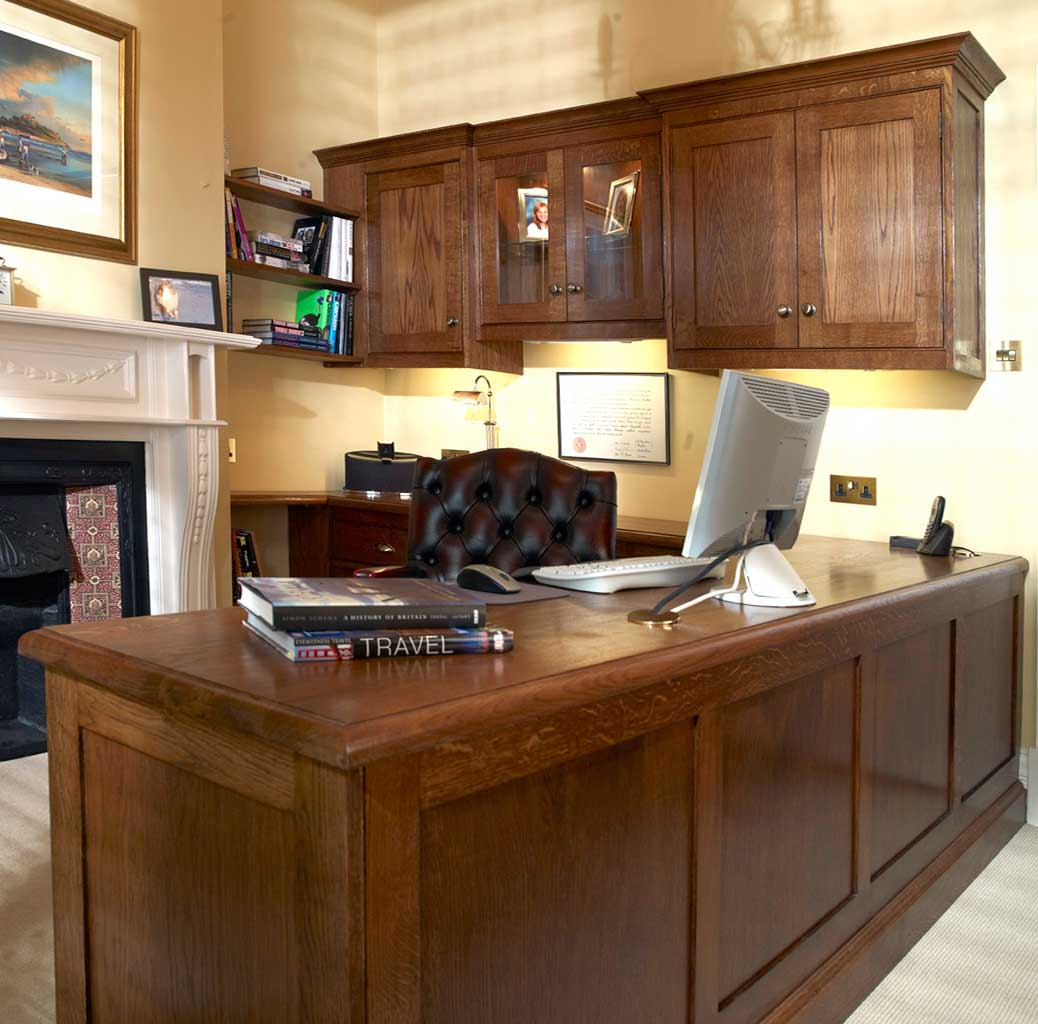 Classic dark oak fitted study