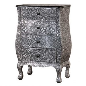 Antiqued Silver patterned chest of drawers