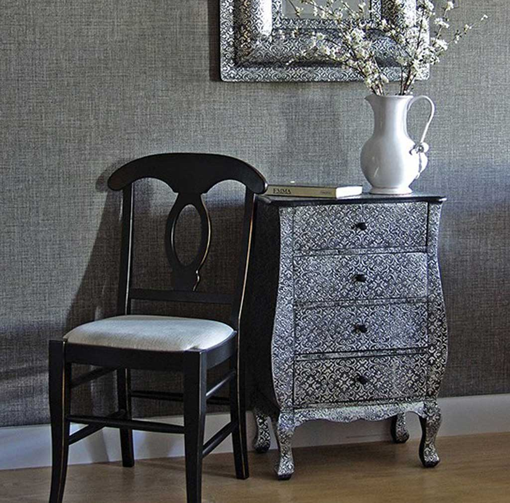 Silver patterned chest of drawers