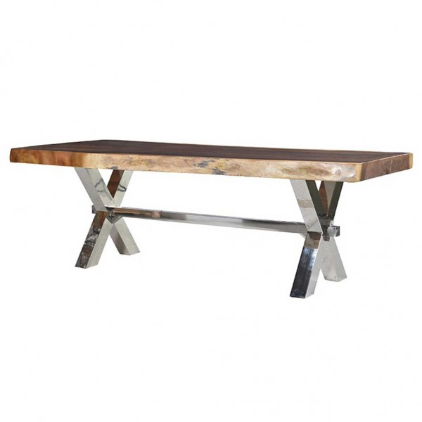Stainless Steel And Wood Coffee Table: Stainless Steel & Wood Table