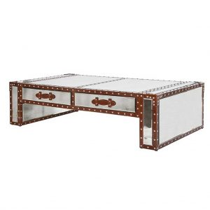 Leather trim coffee table