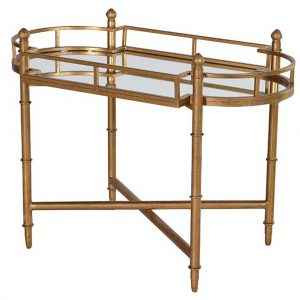 Mirrored serving tray on stand