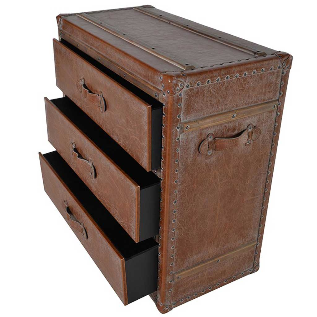 Leather bound chest of drawers