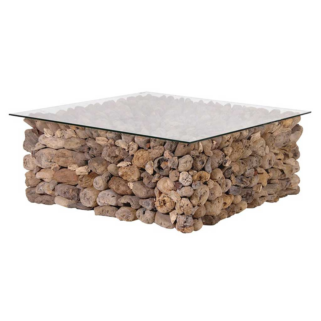 Driftwood glass coffee table