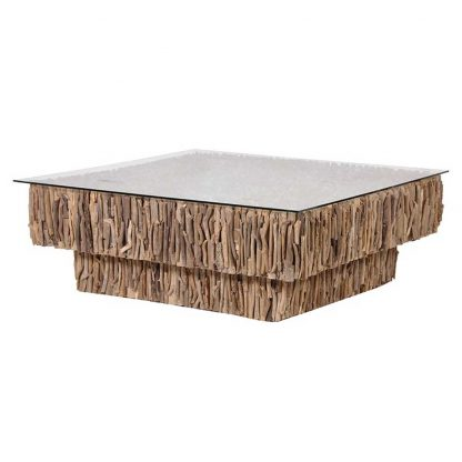 2 Tier drift wood coffee table with glass top