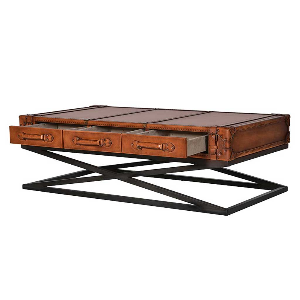 Leather X-frame coffee table with draws