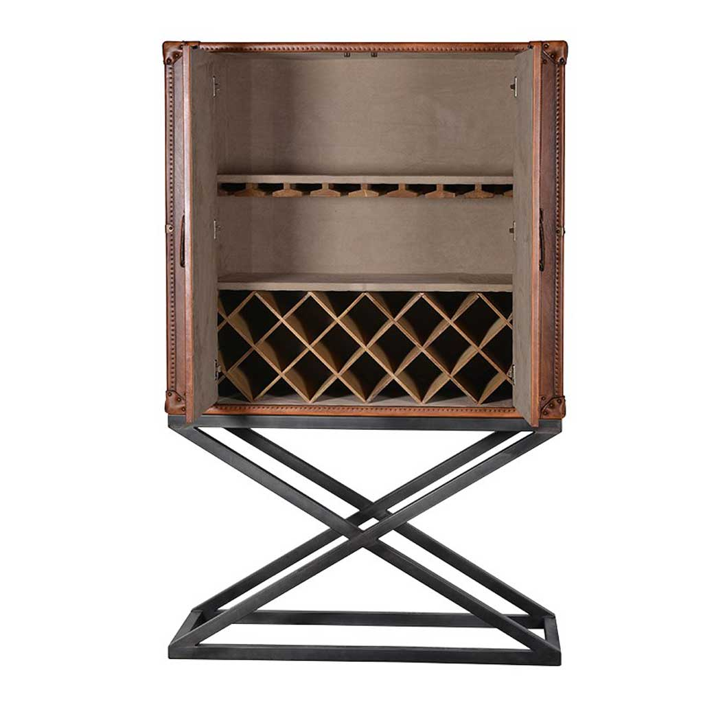 Leather stand drinks cabinet open
