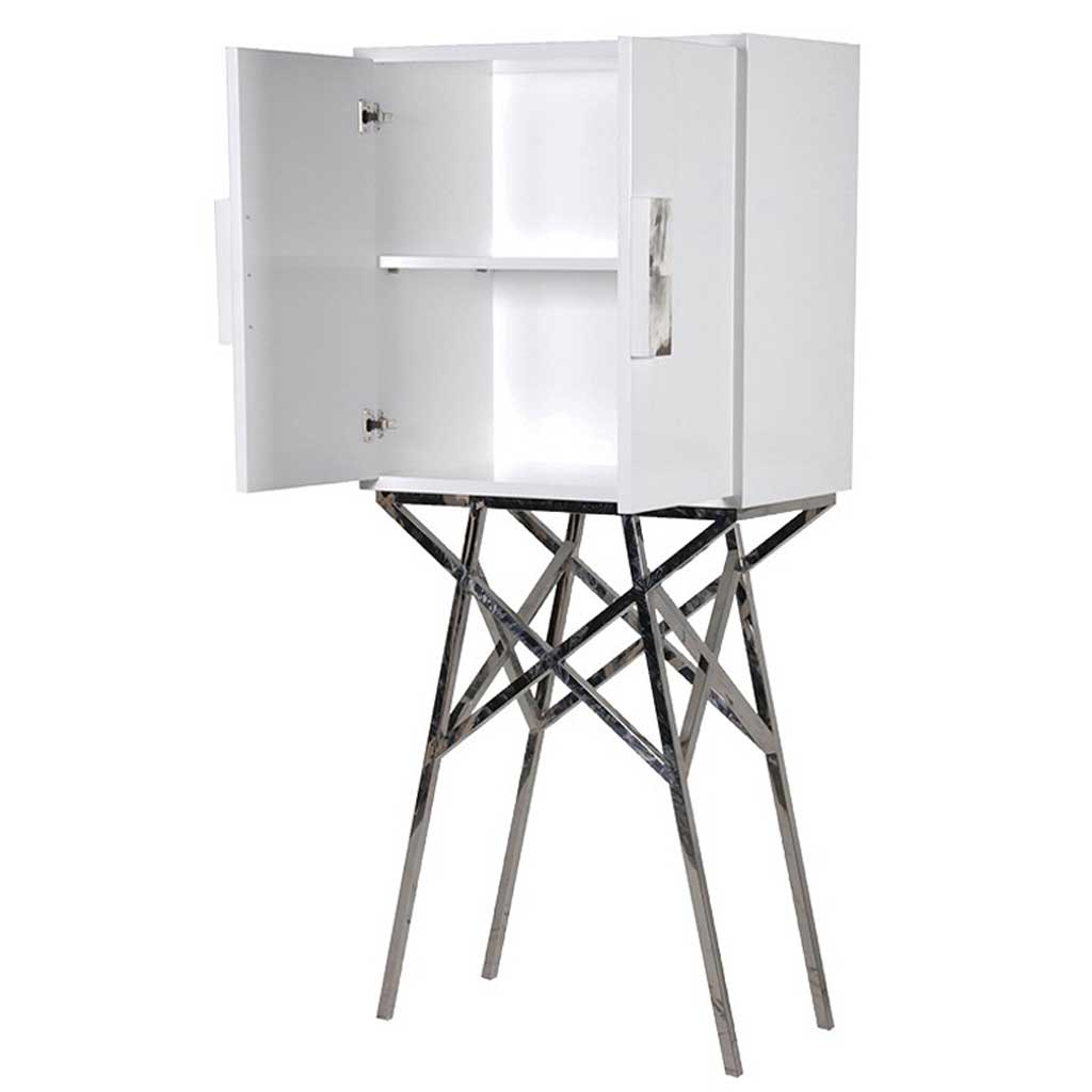 White stand cabinet open