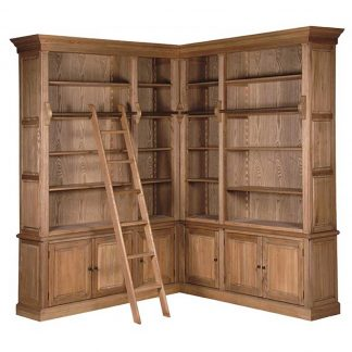 Oak corner bookcase with ladder
