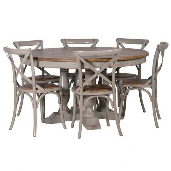 ... Limed Oak Round Table With A Painted Base U0026 Chairs Part 45